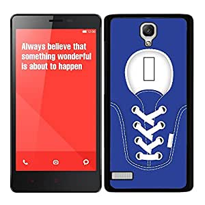 Funda carcasa para Xiaomi Redmi Note diseño zapatilla cordones color azul marino borde negro