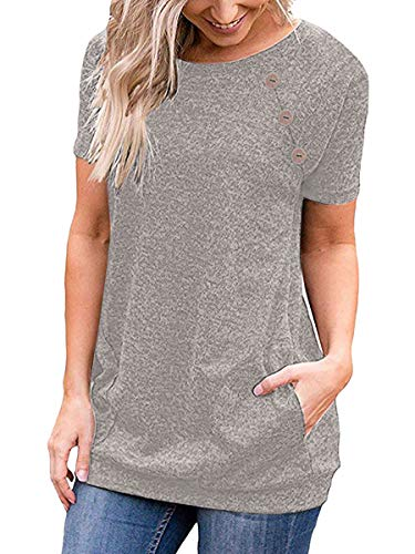 (Junior Tunic Top Simple Fashion Women Shirts Summer Clothes Workout Boat Neck Gray S)