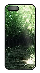 iPhone 5 5S Case Green forest under the sun PC Custom iPhone 5 5S Case Cover Black
