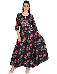 Women's Floral Print Ankle Length Tunic Top Anarkali Cotton Kurta Dress.
