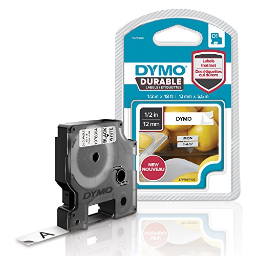 DYMO D1 Durable Labeling Tape for LabelManager Label Makers, Black Print on White Tape, 1/2
