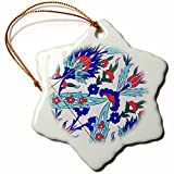 3dRose Danita Delimont - Patterns - Singapore, Kampong Glam Muslim Area, Arab-style tiles - 3 inch Snowflake Porcelain Ornament (orn_257286_1)