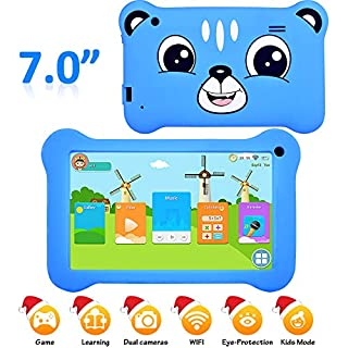 """7"""" Display Kids Tablet, Android 9.0 Tablet with WiFi 2GB+16GB Parents Control & Kids Mode Pre-Installed Kid-Proof Silicone Case Supported YouTube IPS HD Display Kid Friendly and use Friendly Tablet"""
