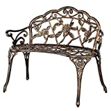 Elegance your Backyard Front yard with Vintage Bristo Double Bench 2 Armrest loveseat Solid Legs Rust Resistant Hollowed Rose Design Patio Balcony Garden Home Office Outdoor Shade Seat Sit