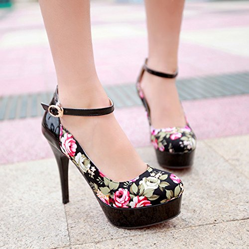 Easemax Womens Fashion Floral Print Round Toe Buckle Ankle Strap Stiletto High Heel Platform Pumps Shoes Black fx1KCzC4