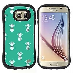 "Pulsar iFace Series Tpu silicona Carcasa Funda Case para Samsung Galaxy S6 , Patrón Piña 420 Weed Verde Blanco"""