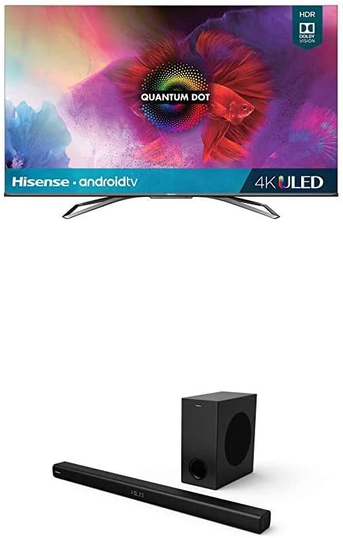 Hisense 55-Inch Class H9 Quantum Series Android 4K ULED Smart TV with Hand-Free Voice Control & 2.1 Channel Sound Bar Home Theater System with Wireless Subwoofer with Bluetooth