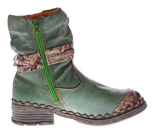 55d20cba62e6e7 ... Leder Damen Winter Stiefeletten Comfort Boots Knöchel Schuhe Schwarz  Weiß Grün Blau TMA 5050 gefüttert Grün ...