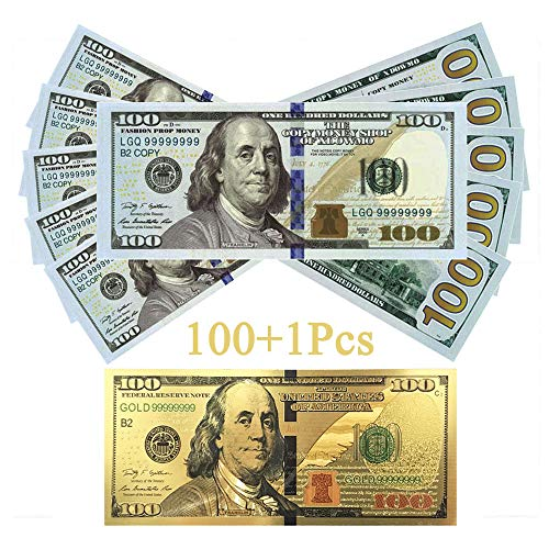 Prop Money Play Money Pretend $10,000 Full Print New Style Money Copy of $100 Dollar Bills Stack, in Authentic Bank Strap. -