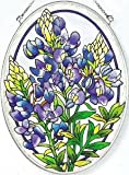 Amia Hand Painted Glass Suncatcher with Bluebonnet Design, 5-1/4-Inch by 7-Inch Oval