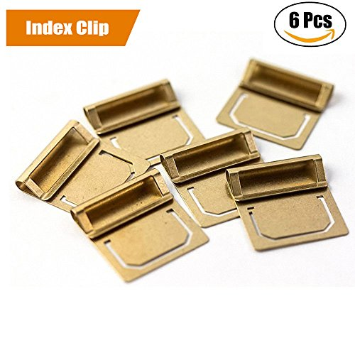 JoyTong Brass Index Clip - Paper Tabs File Bookmark Page Clip,Pack of 6