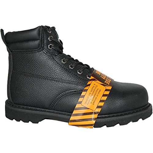 KRAZY Safety Steel Toe LEATHER 6 Inch Black Water Resistant Mens Work Boot