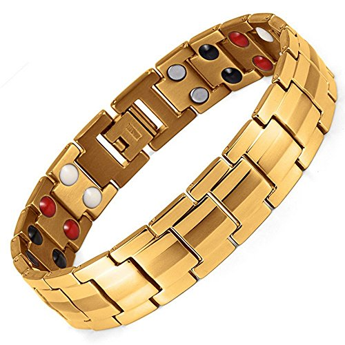 Double Strength 4 Elements Stainless Steel Magnetic Therapy Negative Ions Germanium Link Bracelet for Arthritis Pain Relief Anti-Radiation(Imported,3000 Gauss Each Link)