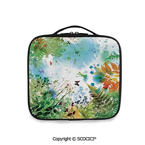 SCOCICI Large Capacity Travel Handle Wash Bag Ferns Petals Flourishing Nature Fantasy -