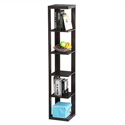 Yaheetech 5 Tier Espresso Finish Wood Wall Corner Shelf Slim Bookshelf Bookcase Tall Display Rack