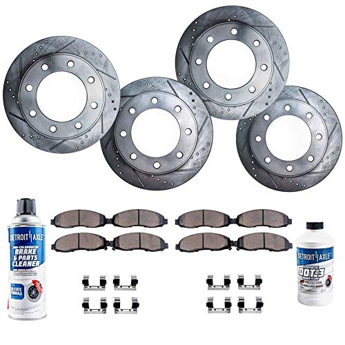 Silverado Brake Chevrolet 2500 - Detroit Axle - 8-LUG FRONT & REAR Drilled Slotted Brake Rotors & Ceramic Brake Pads w/Hardware, Fluid & Cleaner for 01-10 Silverado/Sierra 2500HD - [07-10 Silverado/Sierra 3500HD Single Rear Wheel]