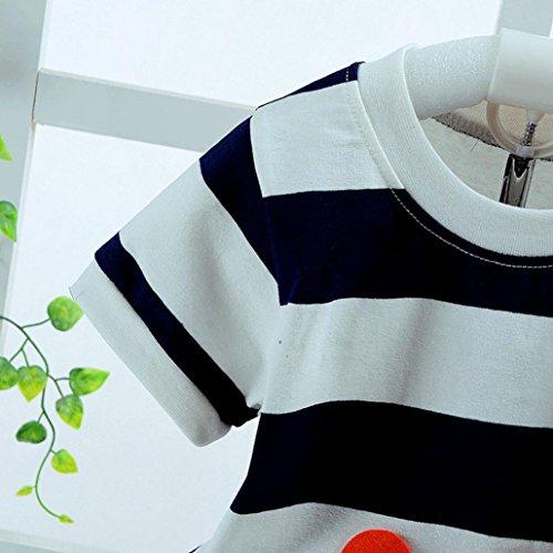 Goodlock Toddler Infant Fashion Clothes Sets Baby Boys Girls Bear Striped T-Shirt Tops+Shorts Clothes Set Outfits 2Pcs