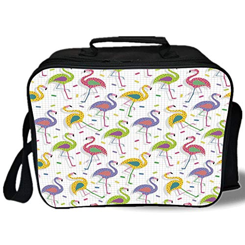 Insulated Lunch Bag,Flamingo Decor,Colorful Retro Vintage 8os Flamingo Patterns in Polka Dot Design Checked Background,Multi,for Work/School/Picnic, Grey