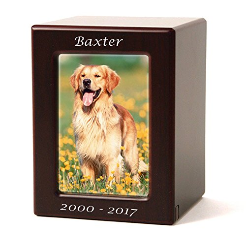 Photo Frame Wood Memorial Urn for Cats and Dogs - Medium - Holds Up to 85 Cubic Inches of Ashes - Cherry Wood Brown Pet Cremation Urn for Ashes - Engraving Sold Separately by OneWorld Memorials