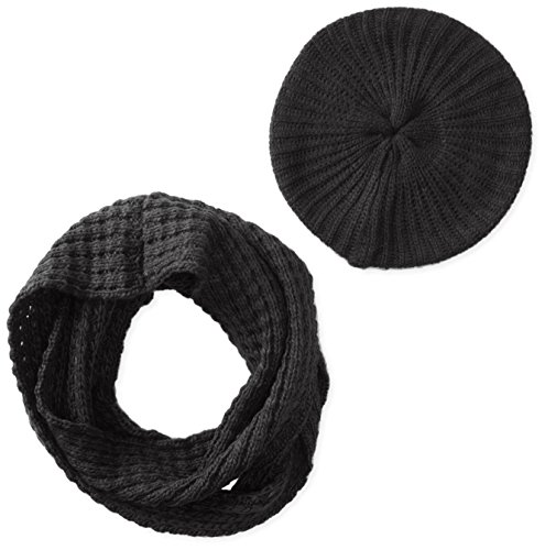 San Diego Hat Company Women's Waffle Knit Scarf and Beret Set, Black, One Size (Beret Scarf Set)