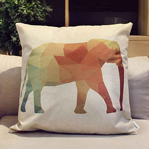 HIPPIH 4 Packs Square Pillow Cover - 16 X 16 Inch Decorative Throw Pillowcase, Geometric Animals by HIPPIH (Image #1)