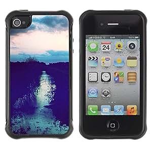 Suave TPU Caso Carcasa de Caucho Funda para Apple Iphone 4 / 4S / Field Sunset After Sky Night View / STRONG