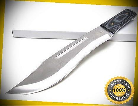 Amazon.com: Cuchillo de cuchilla fija recta negra con mango ...