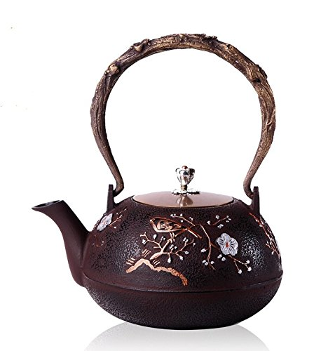 - RUIKA Japanese tetsubin Cast Iron Teapot Plum blossom pattern Kettle 1200ml 40 Ounce