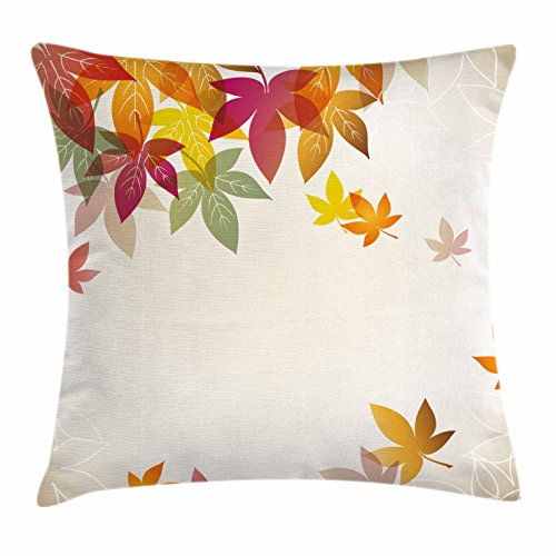 Ambesonne Fall Throw Pillow Cushion Cover, Silhouettes of Maple Tree Leaves in Pastel Colors Classical Shady Nature Graphic Image, Decorative Square Accent Pillow Case, 26 X 26 Inches, Multicolor ()
