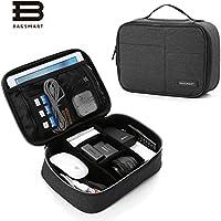 BAGSMART Electronics Travel Organizer Bag for Adaptors, Chargers, iPhone, iPad air, iPad mini, 9.7 iPad Pro, Kindle, Black