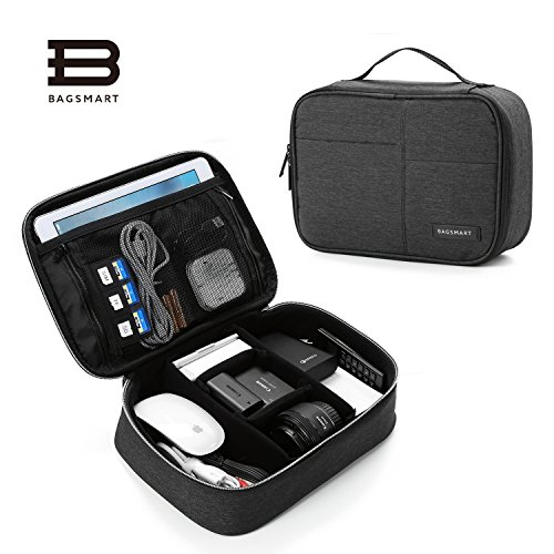 BAGSMART Electronics Travel Organizer Bag for Adaptors, Chargers, iPhone, iPad air, iPad mini, 9.7 iPad Pro, Kindle, Black