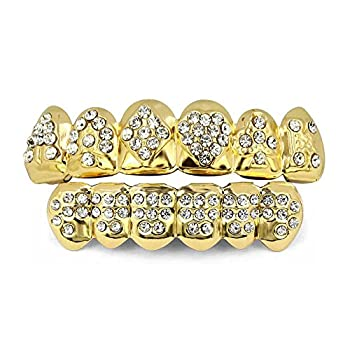 - 51EwnqFCL3L - TOPGRILLZ 18K Gold Plated Iced Out Hip Hop Poker Top & Bottom Teeth Caps Grillz Set