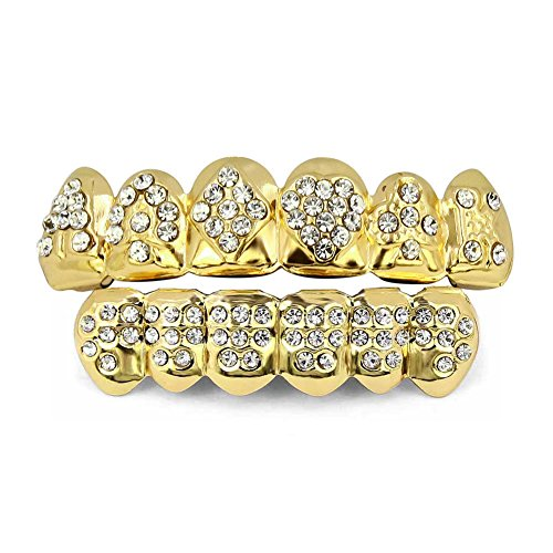 TOPGRILLZ 18K Gold Plated Iced Out Hip Hop Poker Diamond Top & Bottom Teeth Caps Grillz ()