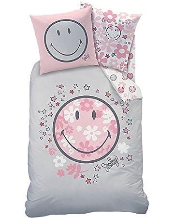 Smiley Madchen Bettwasche Happy Flower Blumen Sterne In Rosa