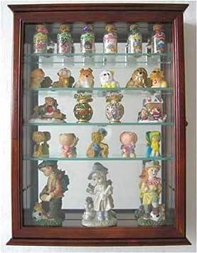Mirror Background Souvenir Shot Glass Display Case Shadow Box Wall Mounted Cabinet Oak Finish