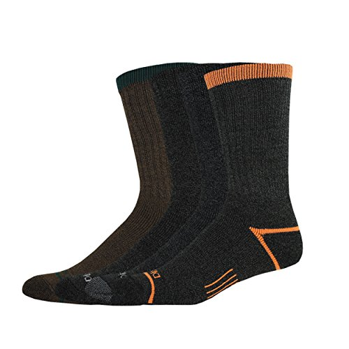 Dickies Men's 4 Pack Split Rib Moisture Control Crew Socks,Moss,Sock Size:10-13/Shoe Size: 6-12 Regular