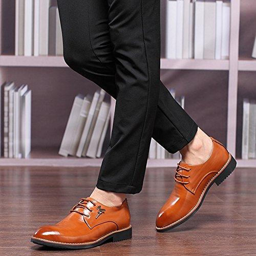 wealsex Chaussures de Ville à Lacets Oxford Homme Derby Cuir Bout Pointu Chaussure Affaire Costume Mariage Bureau Marron xDAHul