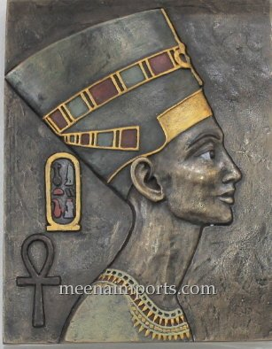 Meena Imports Egyptian Queen Nefertiti Wall Plaque-Bronze