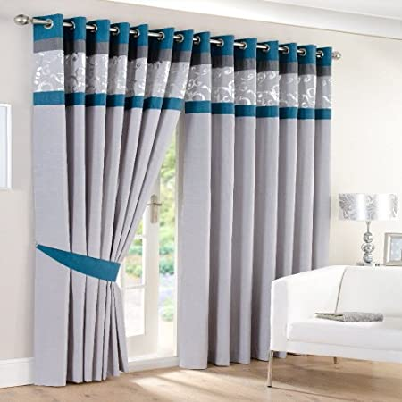 teal and grey curtains Lined EYELET RING Curtains SILVER GREY TEAL 66x90: Amazon.co.uk  teal and grey curtains