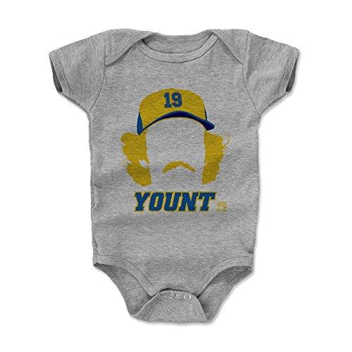 (500 LEVEL Robin Yount Baby Clothes, Onesie, Creeper, Bodysuit 3-6 Months Heather Gray - Vintage Milwaukee Baseball Baby Clothes - Robin Yount Silhouette B)