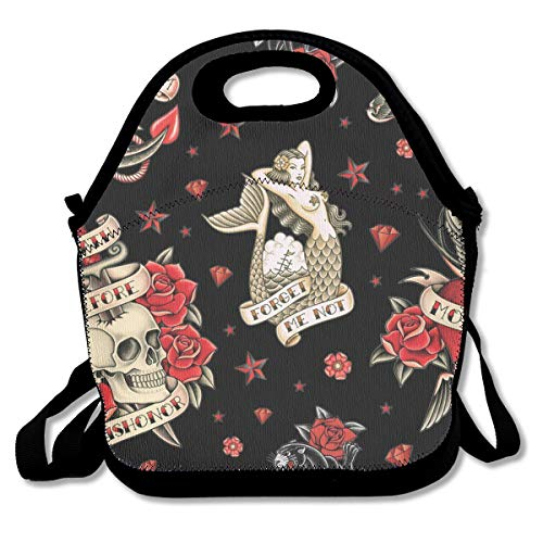 Lunch Bag Old School Tattoo Black Lunch Tote Bag Bags Awesome Lunch Handbag Lunchbox Box for School Work Outdoor
