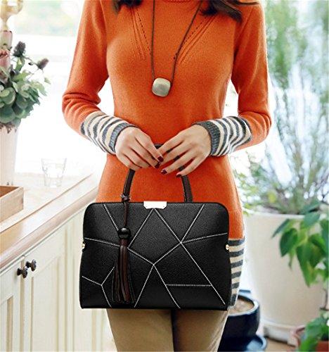 Bolsos de señora Xinmaoyuan lichi bolsos Pu señoras bolso bolsa de rayas paquete de gran capacidad Negro