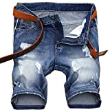 LIYT Men's Summer Casual Ripped Jeans Denim Shorts