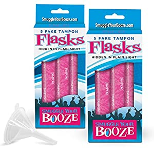 Smuggle Your Booze Tampon 5-pack Flasks (2 Piece Bundle)