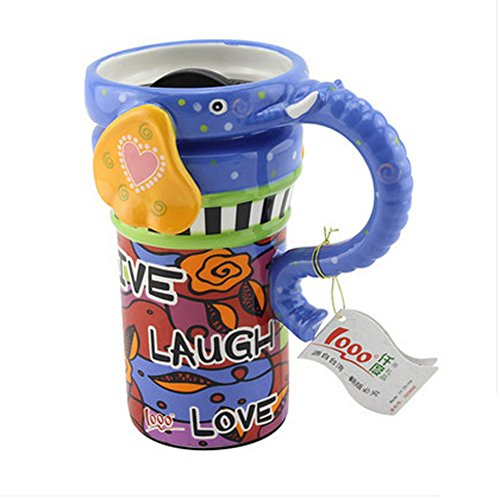 Painted Creative Mug Ceramic Elephant Cup Lid With Spoon, Large Capacity Cup, K