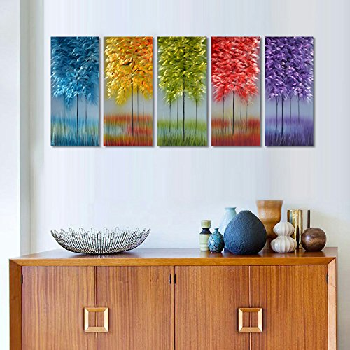 MyArton Metal Wall Art with Bog Life Multi-Colored Tree,