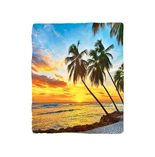 - VROSELV Custom Blanket Ocean Collection Fairy Sunset over the Sea with the Palms on the Beach at a Caribbean Island in Barbados Horizon Bedroom Living Room Dorm Multi