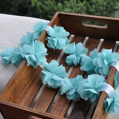 Rosette Chiffon (Lace Crafts - Blue Chiffon Rosette, Chiffon Rosette, Chiffon Flowers, Wedding Decors, Chair Sashes, Bouquet, 1 Yard, FT004B)