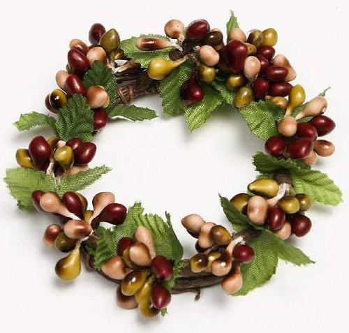 Set of 4 Mixed, Warm Tone Burgundy, Sage Green and Tan Pip Berry Napkin Rings