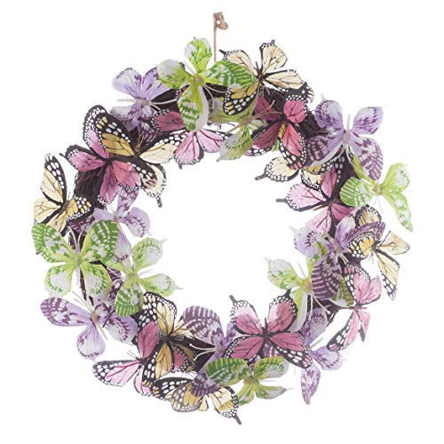 (Fox Valley Trader Colorful Butterflies Twig Wreath, Spring Home Décor, 12